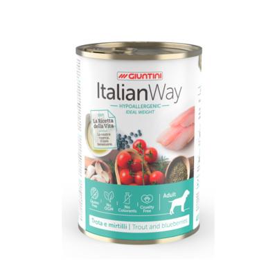 Italian Way Консервы Облегченные консервы для собак с форелью и черникой (ITALIAN WAY WET IDEAL WEIGHT TROUT/BLUEBERRY) UITWA14480, 0,400 кг, 36579