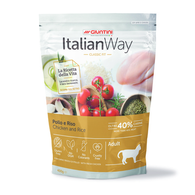 Italian Way Безглютеновый корм для кошек с курицей и рисом (ITALIAN WAY CHICKEN/RICE) GITWA03040, 0,400 кг