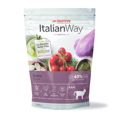 Italian Way Беззерновой корм для кошек с чувствительным пищеварением со свежей уткой (ITALIAN WAY SENSITIVE DUCK) GITWA09040, 0,400 кг