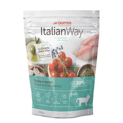 Italian Way Беззерновой корм для кошек со свежей форелью и черникой,контроль веса и профилактика аллергии (ITALIAN WAY IDEAL WEIGHT TROUT/BLUEBERRY) GITWA12040, 0,400 кг