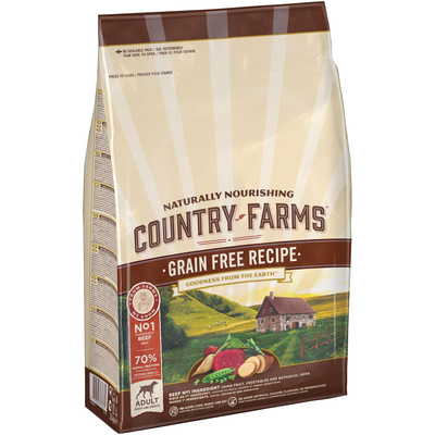 Country Farms Сухой корм беззерновой полнорационный для взрослых собак с высоким содержанием говядины 76669, 11,000 кг