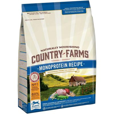 Country Farms ВИА Сухой корм монопротеиновый полнорационный для щенков, с высоким содержанием курицы, 11,000 кг