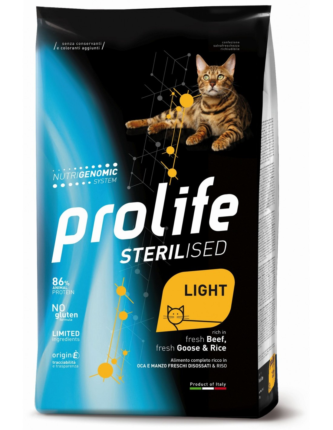Prolife ВИА Сухой корм для кошек Sterilised Light Говядина, Гусь и Рис ZCD35878, 0,4 кг, 42097