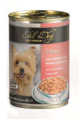Edel Dog ВИА Нежные кусочки в соусе  (3 вида мяса) , 1,200 кг