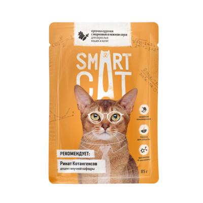 Smart Cat паучи Паучи для взрослых кошек и котят кусочки курочки с морковью в нежном соусе, 0,085 кг