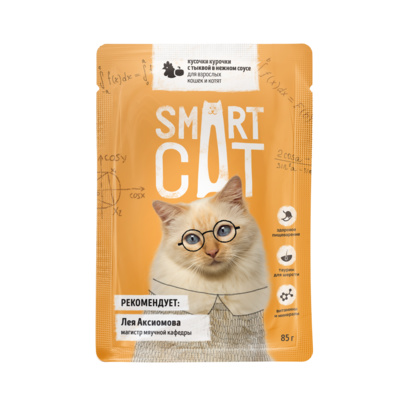 Smart Cat паучи Паучи для взрослых кошек и котят кусочки курочки с тыквой в нежном соусе, 0,085 кг