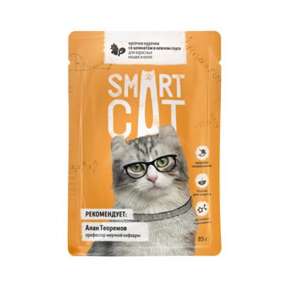 Smart Cat паучи Паучи для взрослых кошек и котят кусочки курочки со шпинатом в нежном соусе, 0,085 кг
