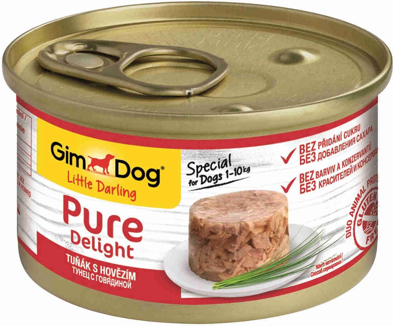 GimDog Pure Delight влажный корм для взрослых собак всех пород, тунец и говядина 85 гр