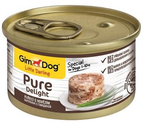 GimDog Pure Delight влажный корм для взрослых собак всех пород, цыпленок и говядина 85 гр