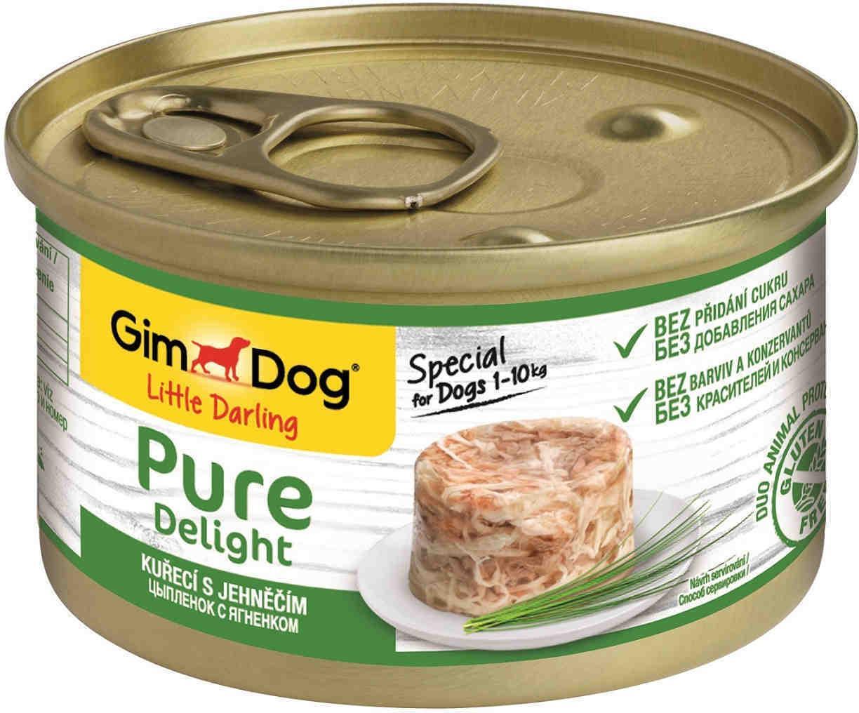 GimDog Pure Delight влажный корм для взрослых собак всех пород, цыпленок и ягненок 85 гр