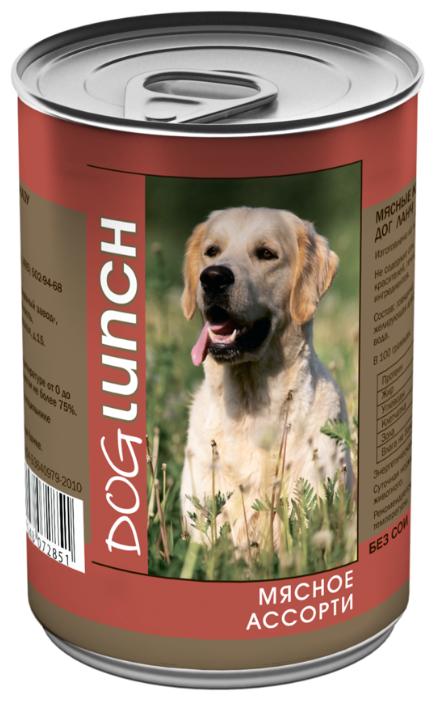 Dog Lunch влажный корм для взрослых собак, мясное ассорти в желе 410 гр