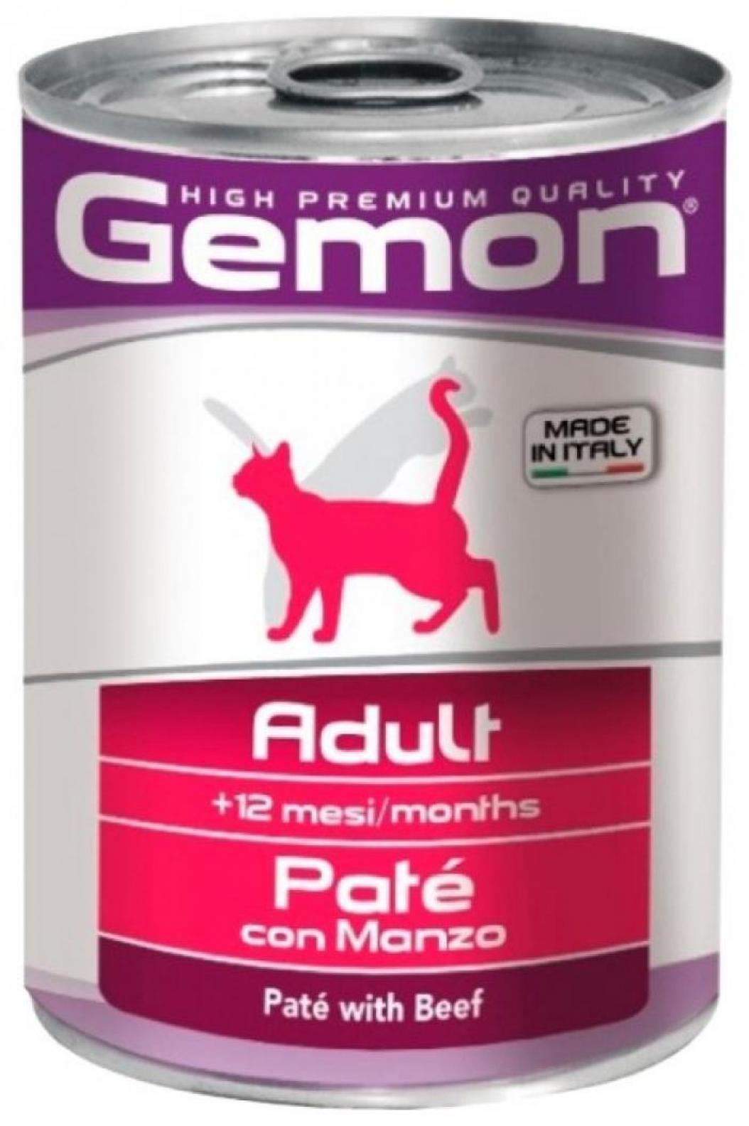 Gemon влажный корм для взрослых кошек всех пород, говядина 400 гр