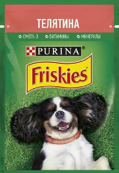 Friskies влажный корм для взрослых собак всех пород, кусочки в подливе, телятина 85 гр