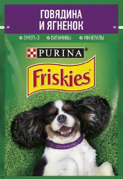 Friskies влажный корм для взрослых собак всех пород, кусочки в подливе, говядина и ягненок 85 гр