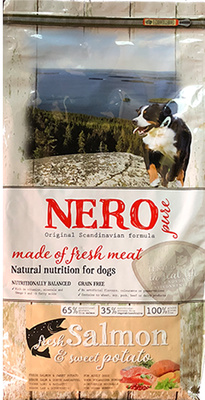 Nero Pure Беззерновой корм для взрослых собак со свежим лососем,  бататом и фруктами (Nero Pure Adult with Fresh Salmon 2,5kg) 70521809, 2,500 кг