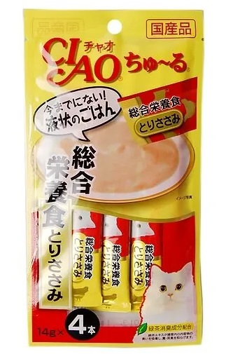 CIAO лакомство для кошек, выведение шерсти из желудка, курица 56 гр