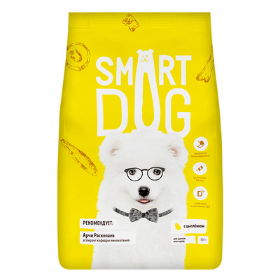 Smart Dog сухой корм Для щенков с цыпленком , 0,800 кг