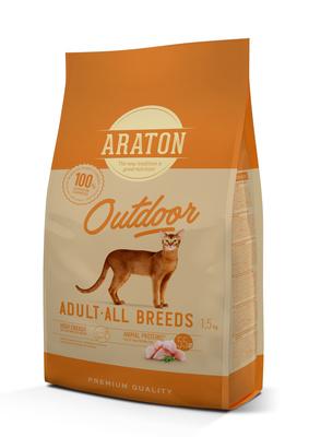Araton корм для активных кошек с курицей и индейкой 15 кг