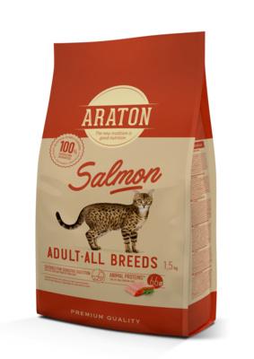 Araton корм для взрослых кошек с лососем 15 кг