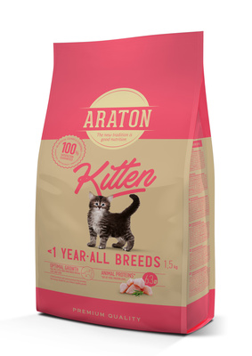 Araton корм для котят с мясом птицы 15 кг