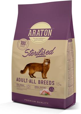 Araton корм для стерилизованных кошек с мясом птицы 15 кг