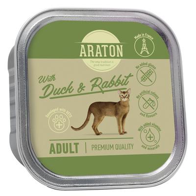 Araton Консервы Безглютеновые консервы для взрослых кошек с уткой и кроликом (Araton adult cat with duck and rabbit) KIK45700, 0,085 кг