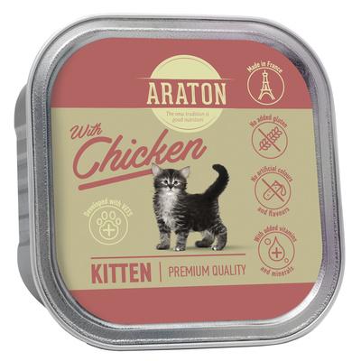 Araton Консервы Безглютеновые консервы для котят с курицей  (Araton Kitten with chicken) KIK45695, 0,085 кг
