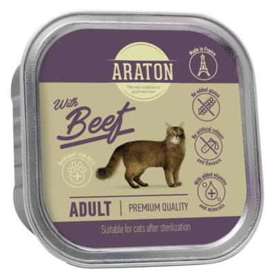 Araton Консервы Безглютеновые консервы для взрослых кошек с говядиной (Araton adult cat with beef) KIK45697, 0,085 кг