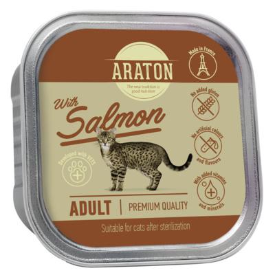 Araton Консервы Безглютеновые консервы для стерилизованных кошек с лососем (Araton adult cat with salmon suitable for sterilised ) KIK45698, 0,085 кг