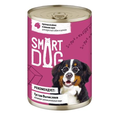 Smart Dog консервы Консервы для взрослых собак и щенков кусочки ягненка в нежном соусе 22ел16 43736, 0,850 кг