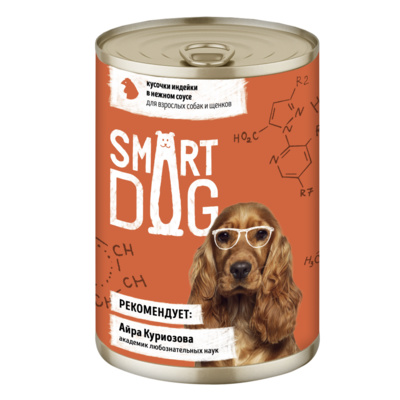Smart Dog консервы Консервы для взрослых собак и щенков кусочки индейки в нежном соусе 22ел16 43722, 0,400 кг