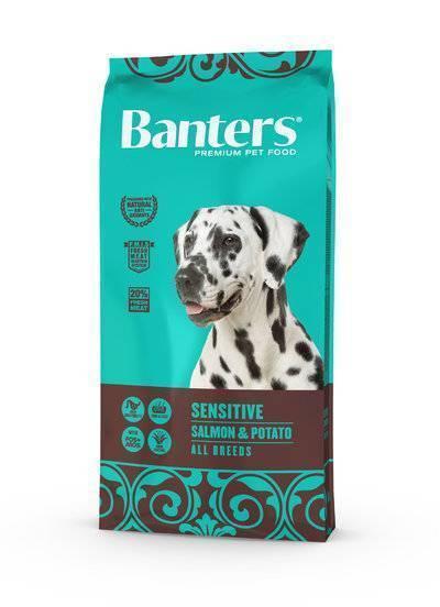 Banters корм для взрослых собак всех пород, деликатное пищеварение, лосось и картофель 15 кг