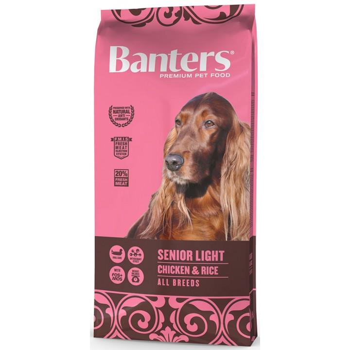 Banters корм для пожилых собак, контроль веса, курица и рис 15 кг