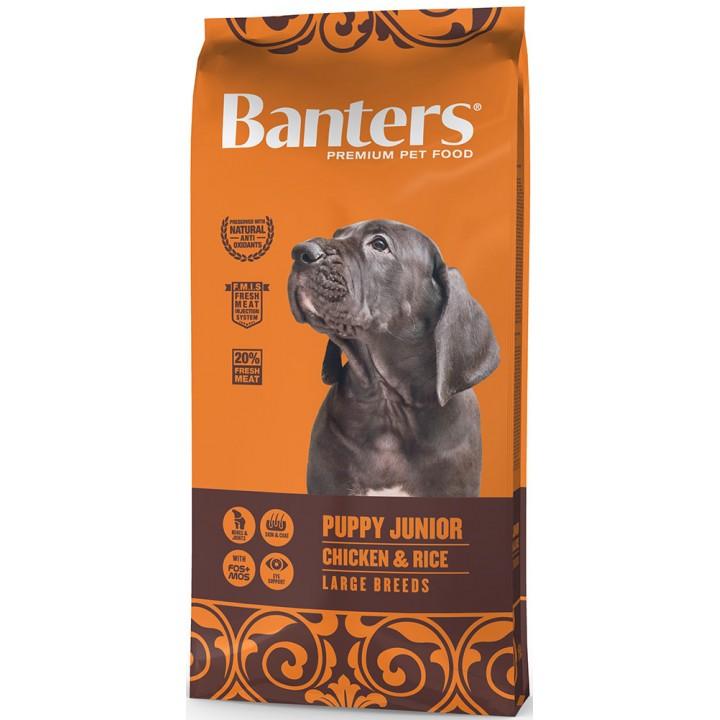 Banters корм для щенков крупных и гигантских пород до 15 месяцев, курица и рис 15 кг