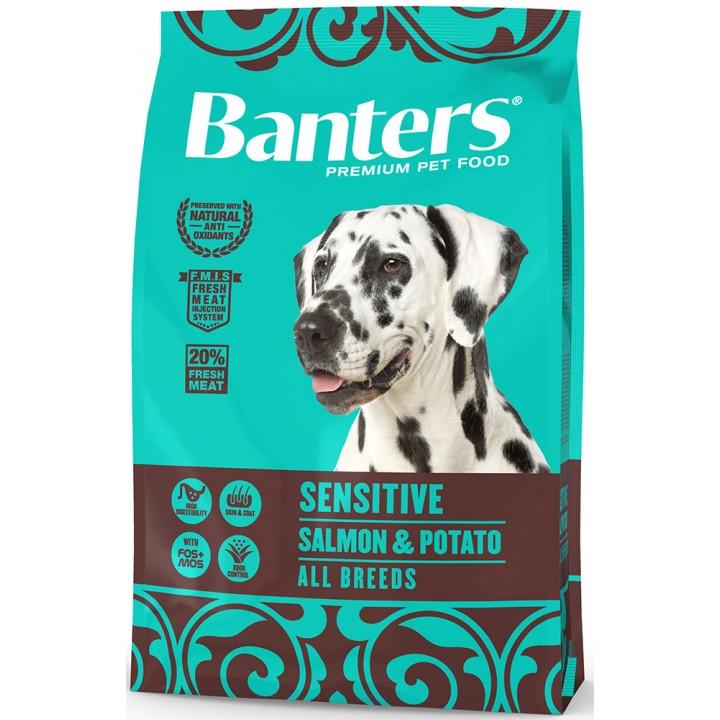 Banters корм для взрослых собак всех пород, деликатное пищеварение, лосось и картофель 3 кг