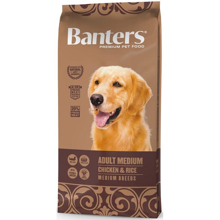 Banters корм для взрослых собак средних пород, курица и рис 15 кг