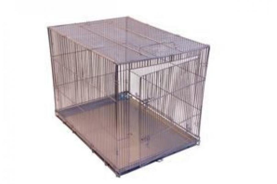 Redplastic Клетка-переноска для собак Дарэлл №4, с метал. поддоном, хром, складная, 80см*60см*65см, RP4071