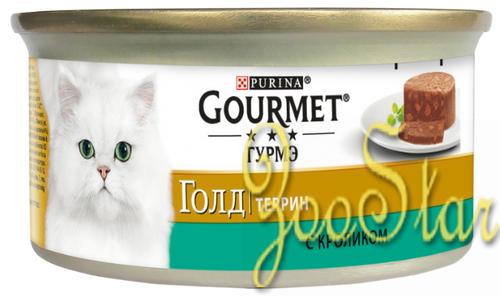 Gourmet Консервы Кусочки в паштете Gourmet Gold  с кроликом по-французски для кошек- 12254211/12318154/12439975, 0,085 кг