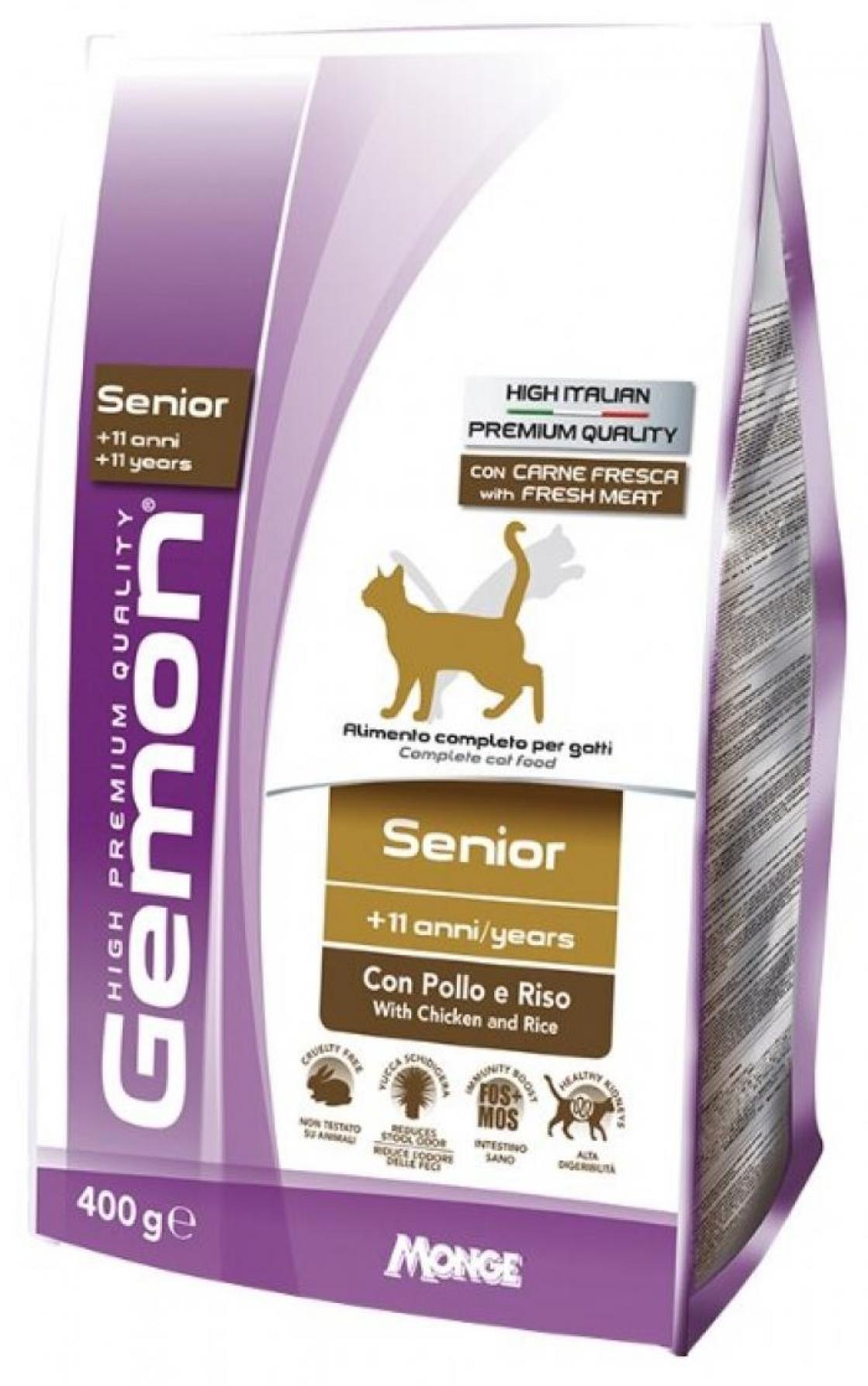 Gemon Cat корм для пожилых кошек с курицей и рисом 400г