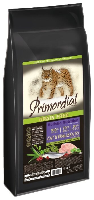 PRIMORDIAL Корм сух 6кг для кошек беззерновой утка/индейка MGSP1106, 70604