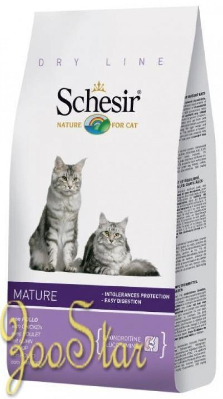 Schesir корм для пожилых кошек всех пород с курицей 1,5 кг