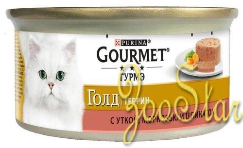 Gourmet Консервы Кусочки в паштете  Gourmet Gold с уткой, морковью и шпинатом по-французски для кошек - 12254204/12318157/12439967, 0,085 кг