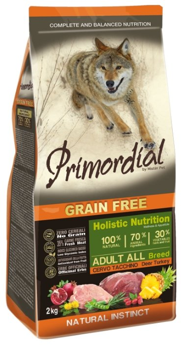 PRIMORDIAL Корм сух 400 г для собак беззерновой оленина/индейка 1х10 MSP56400, 70614