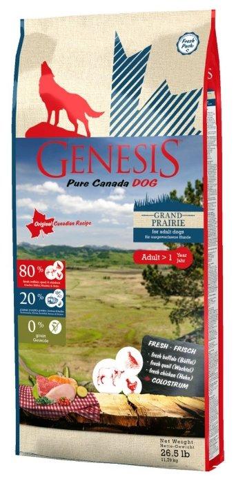 Genesis корм для взрослых собак всех пород, чувствительное пищеварение, курица, буйвол и перепелка 11,79 кг