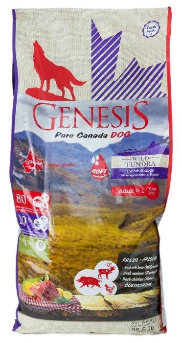 Genesis полувлажный корм для взрослых собак всех пород, мясо кабана, оленя и курицы 11,79 кг