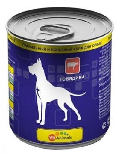 VitAnimals влажный корм для взрослых собак всех пород, говядина 750 гр