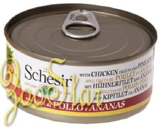 Schesir влажный корм для взрослых собак всех пород, цыпленок и ананас 150 гр