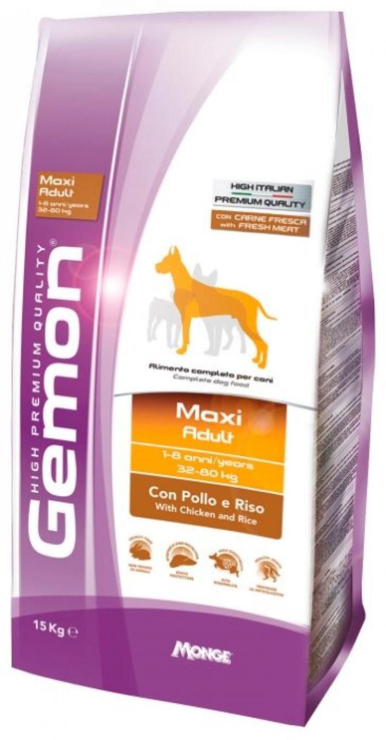 Gemon корм для взрослых собак крупных пород, курица и рис 15 кг