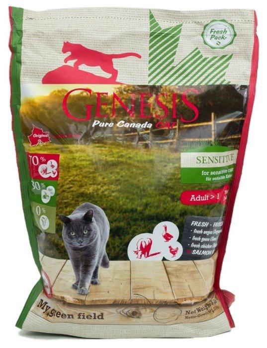 Genesis корм для взрослых кошек всех пород, чувствительное пищеварение, говядина, гусь и курица 340 гр