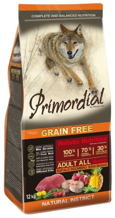 PRIMORDIAL Корм сух 12кг для собак б/зерн.буйвол макрель MSP5512, 64786